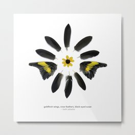 feather mandala... goldfinch wings, crow feathers, black eyed susan Metal Print