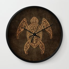 Intricate Vintage and Cracked Sea Turtle Wall Clock