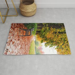 Park bench surrounded by fallen leaves during Autumn Rug