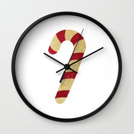 Red And Gold Glitter Candy Cane Wall Clock