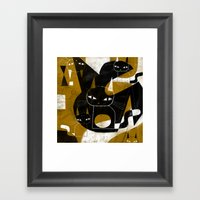 ABSTRACT WITH FIVE CATS Framed Art Print