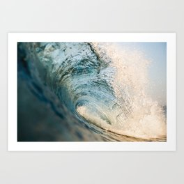 Sunrise light on beautiful wave Art Print