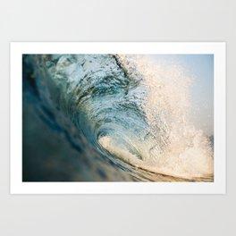 Sunrise light on beautiful wave Art Print