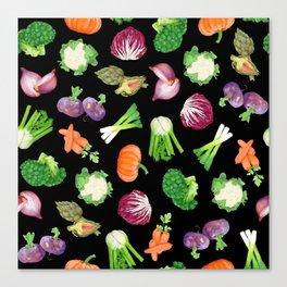 Black veggies pattern | Vegetables illustration pattern Canvas Print