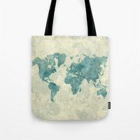 vintage map Tote Bags featuring World Map Blue Vintage by City Art Posters
