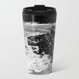 Dramatic black and white photo of Monterey Bay Travel Mug