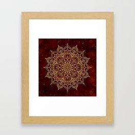 Deep Red & Gold Mandala Framed Art Print