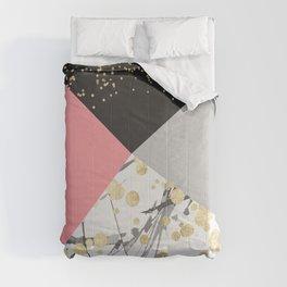 Modern faux gold pink color block confetti Comforters
