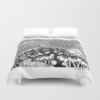 vermont Duvet Covers featuring Zentangle Vermont Landscape Black and White Illustration by Vermont Greetings
