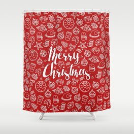 MERRY CHRISTMAS! - Red Pattern Shower Curtain