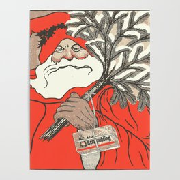 Christmas Pudding And Vintage Santa Vector Poster