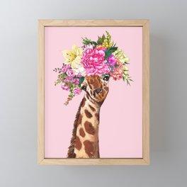 Flower Crown Baby giraffe in Pink Framed Mini Art Print
