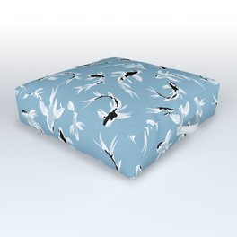Abstract Koi Fishes / Water Blue Outdoor Floor Cushion