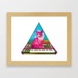 Cat on Synthesizer Framed Art Print