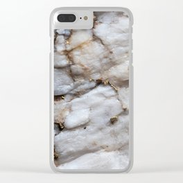 White Quartz with Gold Veining Clear iPhone Case