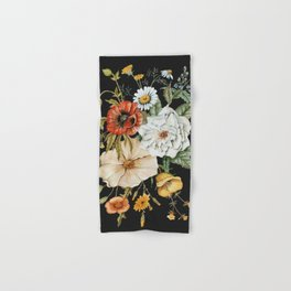 Wildflower Bouquet on Charcoal Hand & Bath Towel