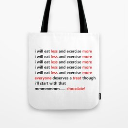 Diet & Exercise - Funny, black, white and red typography sloagn, quote, message, weight, healthy Tote Bag