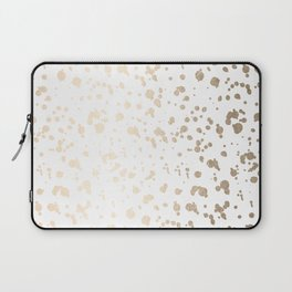 Luxe Gold Painted Dots on White Laptop Sleeve