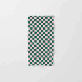 Cotton Candy Pink and Cadmium Green Checkerboard Hand & Bath Towel