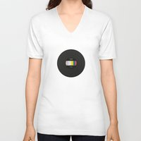 vinyl V-neck T-shirts featuring Vinyl by Long Weekend