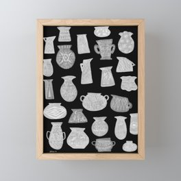 Grey Pottery on Black Framed Mini Art Print