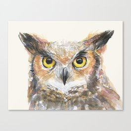 Owl Watercolor Great Horned Owl Painting Canvas Print