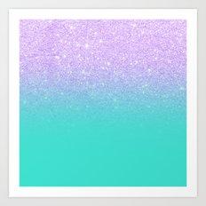 Modern mermaid lavender glitter turquoise ombre pattern Art Print