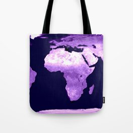 Purple World Map Tote Bag
