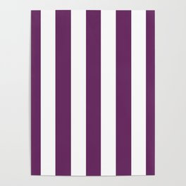 Palatinate purple - solid color - white vertical lines pattern Poster
