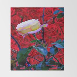 YELLOW ROSE  ON RED ROSES GARDEN ABSTRACT Throw Blanket