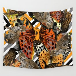 OCELOT CATS & BUTTERFLIES NATURE ART Wall Tapestry