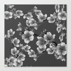 CHARCOAL GREY GARDEN  FRUIT TREES FLOWERS Canvas Print