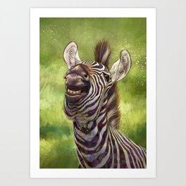 Smiling Zebra Art Print