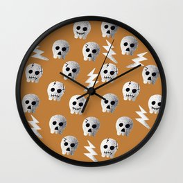 Skull-yellow mustard Wall Clock