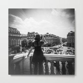 Girl with Hat Looking Out over Paris from the Palais Garnier Metal Print