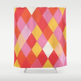Harlequin Orange Pink Shower Curtain