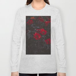 Beautiful Dark Red Sensual Romantic Flowers With Dark Leaves Long Sleeve T-shirt
