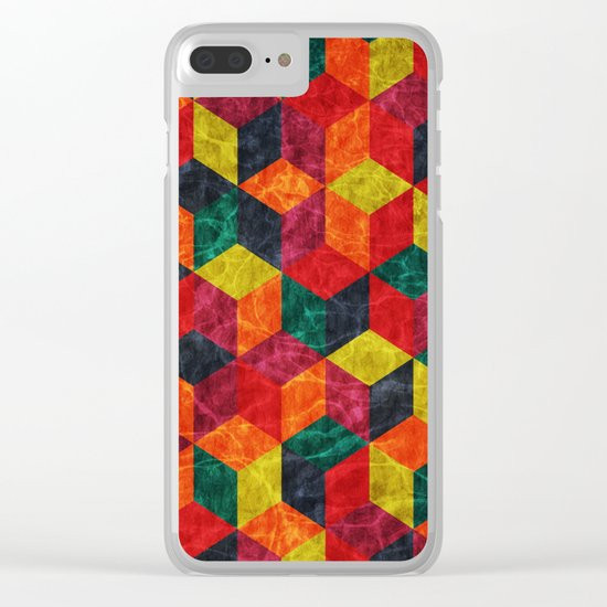 Colorful Isometric Cubes IV Clear iPhone Case