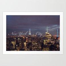 New York City Empire State Building at Night I Art Print