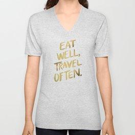 Eat Well Travel Often on Gold Unisex V-Neck