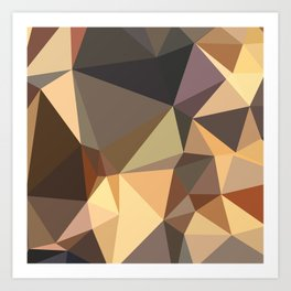 Bole Brown Abstract Low Polygon Background Art Print