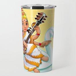 Sarasvati, Hindu goddess of knowledge, arts and learning. Travel Mug