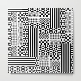 No colors! | Cool Black and White Monochromatic Trendy Patterns Metal Print