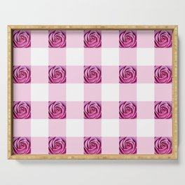 Pink Rose Check Pattern Serving Tray