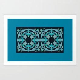 Support Love Mandala x 2 - Teal/Black Art Print
