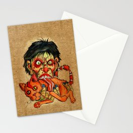 zombie eating bacon cat Stationery Cards