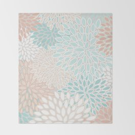 Floral Prints, Soft, Peach and Teal, Modern Print Art Throw Blanket