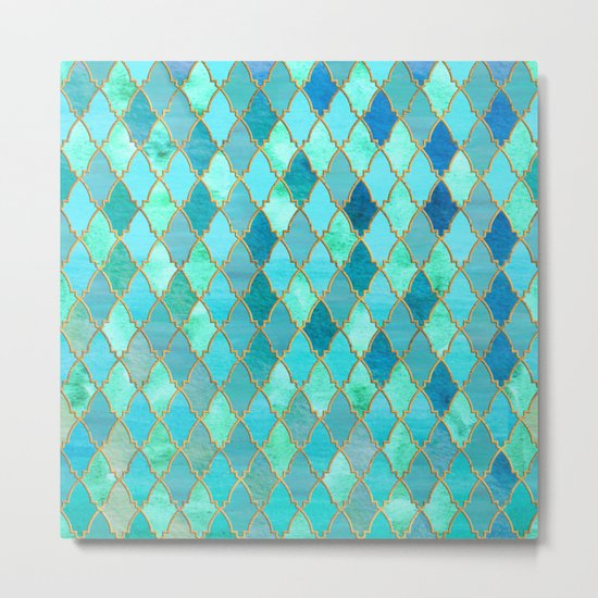 Aqua Teal Mint and Gold Oriental Moroccan Tile pattern Metal Print