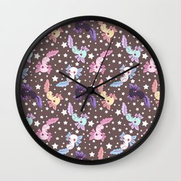 kawaii axolotl pattern Wall Clock
