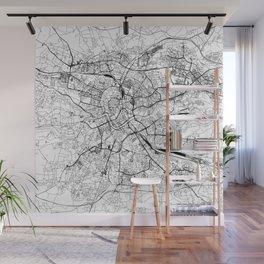 Krakow White Map Wall Mural